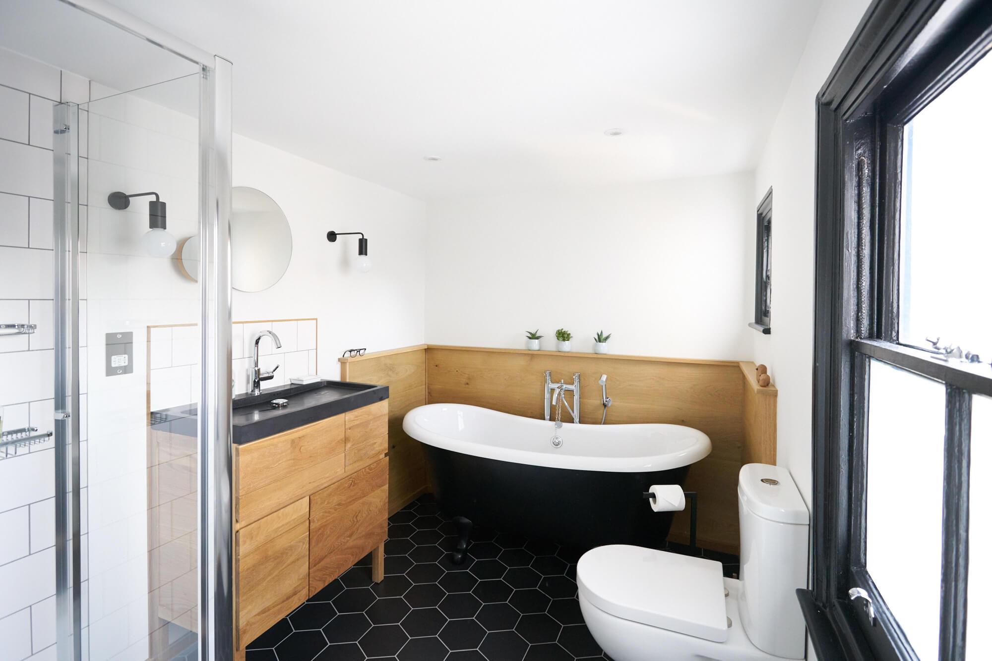 monochrome and oak scandi style family bathroom