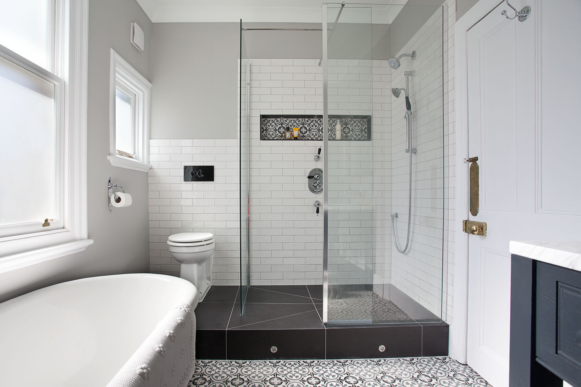 luxury bathroom encaustic tiles