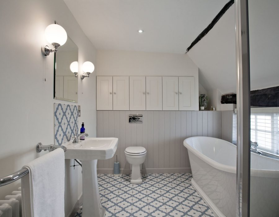 Image: Traditional family bathroom in a Grade II listed cottage